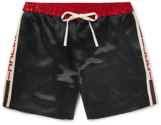 Gucci Wide-Leg Webbing-Trimmed Satin-Twill Shorts