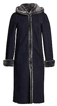 The Fur Salon The Fur Salon Women's Reversible Dyed Shearling Coat