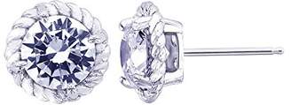 Platinum-Plated Sterling Simulated Diamonds 100-Facet Rope Stud Earrings