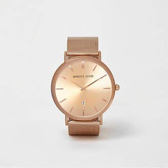 River Island Rose gold plated Abbott Lyon mesh watch