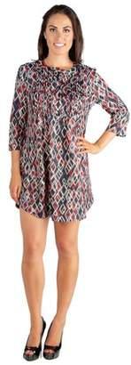 24seven Comfort Apparel Split Neckline Pleated Babydoll Tunic Dress