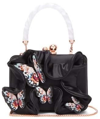 Sophia Webster Vivi Lilico Butterfly Appliqued Satin Clutch - Womens - Black Multi