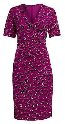 Escada Women's Leopard-Print Jersey Faux Wrap Dress