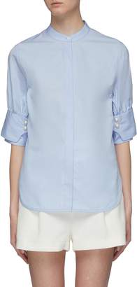 3.1 Phillip Lim Belted back faux pearl cuff short sleeve shirt