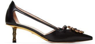 Gucci Black GG Crystal Bamboo Unia Heels