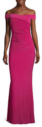 Adrianna Papell Off-The-Shoulder Column Gown