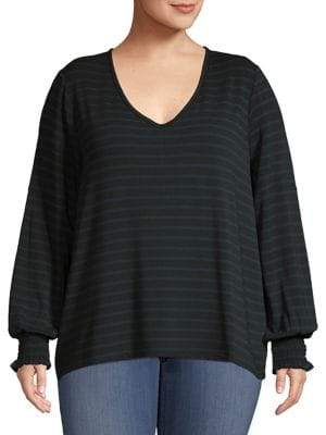 Lord & Taylor Plus Striped Pullover