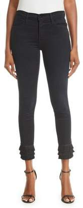 Frame Le High Skinny Jeans with Tiered Fringe Hem
