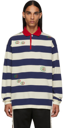 Gucci Navy and White GG Stripe Polo