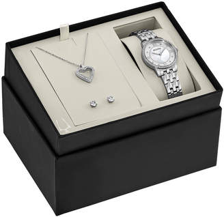 Bulova Ladies Crystal Watch, Necklace & Earrings Box Set