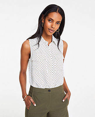 Ann Taylor Tall Ikat Dot Sleeveless Camp Shirt