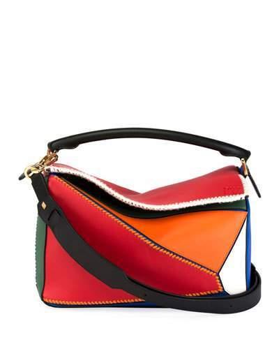 Loewe Puzzle Patchwork Colorblock Leather Satchel Bag