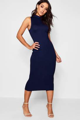 boohoo Turtle Neck Sleeveless Midi Bodycon Dress