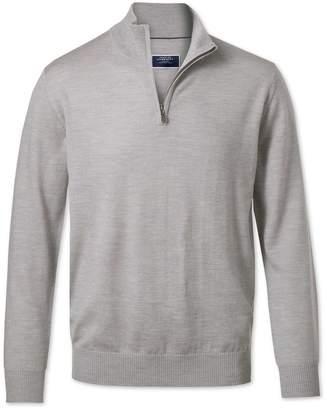 Charles Tyrwhitt Silver Zip Neck Merino Wool Sweater Size XXL