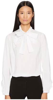 Francesco Scognamiglio Bow Front Long Sleeve Woven Top Women's Blouse