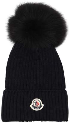 Moncler Wool Knit Hat W/ Fox Fur Pompom
