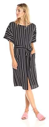 Paris Sunday Women's Short Sleeve Midi Sheath Dress with Self Tie