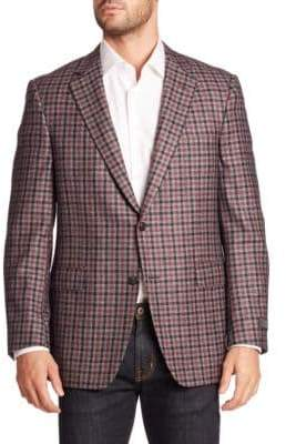 Saks Fifth Avenue COLLECTION BY SAMUELSOHN Classic-Fit Plaid Wool & Cashmere Sportcoat