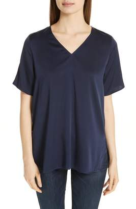 Eileen Fisher Silk Blend V-Neck Tunic Top