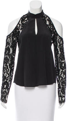 Nicole Miller Silk Lace Panel Blouse w/ Tags $95 thestylecure.com