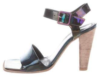 Celine Iridescent Patent Leather Sandals Navy Iridescent Patent Leather Sandals