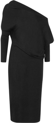 TOM FORD - Off-the-shoulder Cashmere And Silk-blend Midi Dress - Black $1,890 thestylecure.com