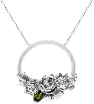 Lee Renee Rose Halo Diamond & Tourmaline Necklace Silver