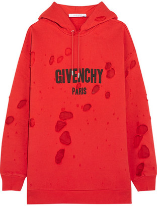 Givenchy - Distressed Chiffon-paneled Cotton-jersey Hooded Sweatshirt - Red