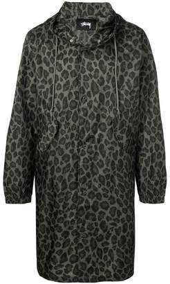 Stussy leopard print hooded jacket