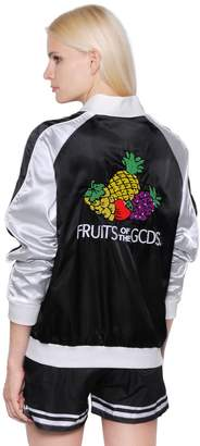 Gcds Fruits Embroidered Satin Bomber Jacket