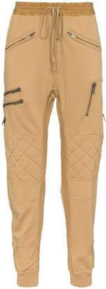 Haider Ackermann quilted and zipped cotton biker trousers