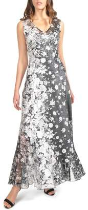Komarov Lace-Back Maxi Dress with Shawl