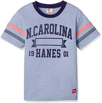 Hanes (へインズ) - [ヘインズ] 袖口ラインTシャツ HX8725 サックス 日本 140-(日本サイズ140 相当)