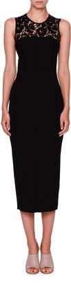 Valentino Sleeveless Lace-Yoke Pencil Dress, Black