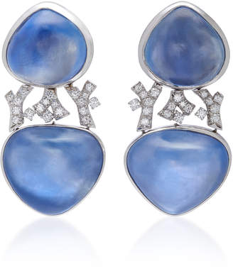 Gioia Cabochon Sapphire And Diamond Drop Earrings