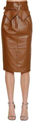 Alberta Ferretti HIGH WAIST LEATHER MIDI SKIRT