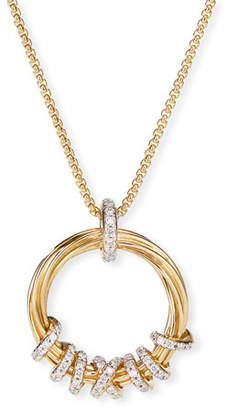 David Yurman Helena 18k Round Diamond Pendant Necklace