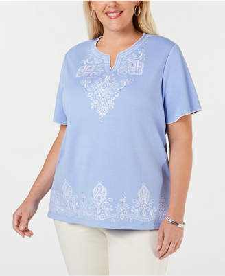 696ca4217a Alfred Dunner Plus Size The Summer Wind Embroidered Top