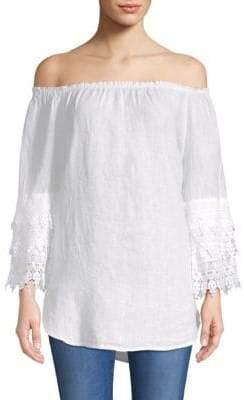 Saks Fifth Avenue Lace-Trimmed Off-The-Shoulder Linen Top