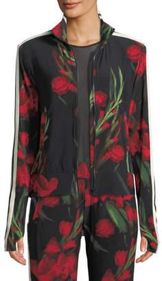 Norma Kamali Rose-Print Side-Stripe Turtle Athletic Jacket