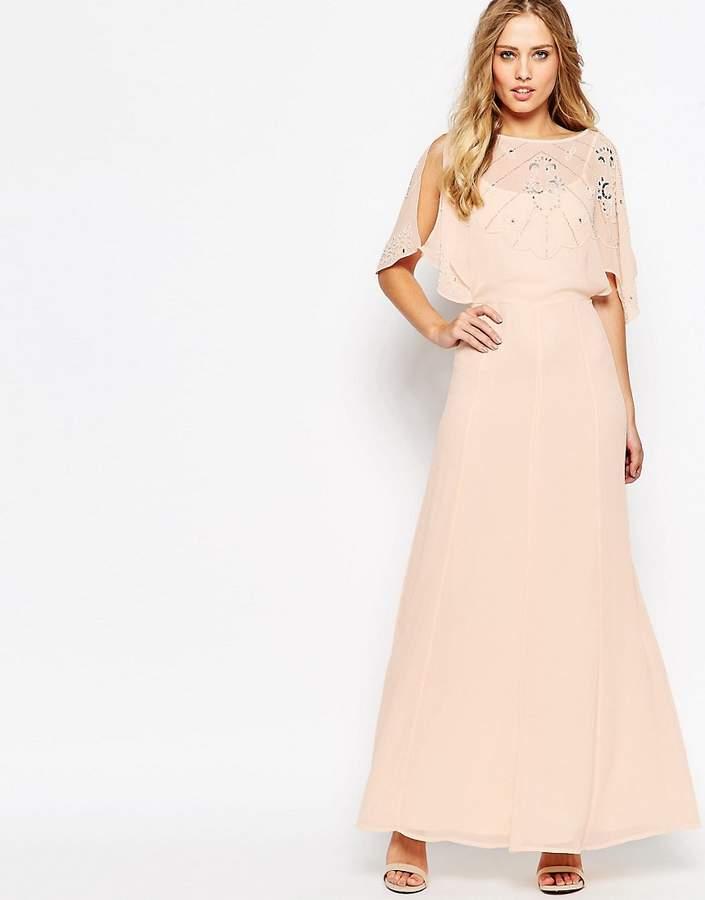 AsosASOS Embellished Flutter Sleeve Maxi Dress