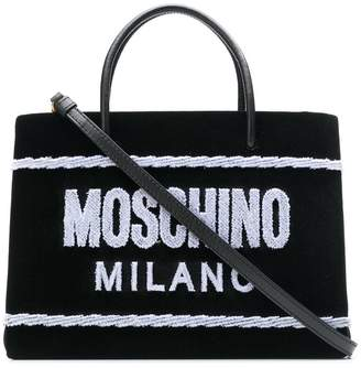 Moschino terry-flocked velvet tote