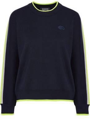 Markus Lupfer Danielle Neon-Trimmed Appliquéd Wool Sweater