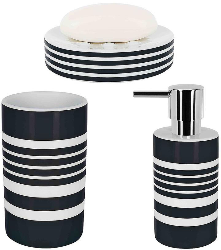 Spirella tubes stripes set of 3 bathroom accessories for Black and white striped bathroom accessories