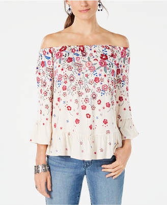 Style&Co. Style & Co Petite Floral-Print Off-The-Shoulder Top