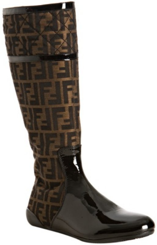Fendi tobacco zucca canvas and patent leather flat boots