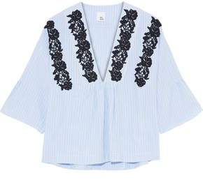 Iris & Ink Perry Lace-Appliquéd Striped Cotton-Poplin Top