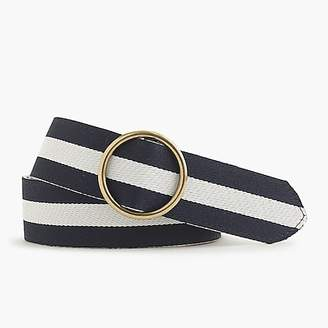 J.Crew Reversible leather and canvas belt in pink stripe
