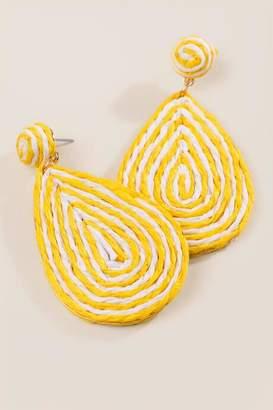 francesca's Elberta Woven Earrings - Yellow