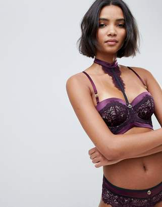 Hunkemoller Doutzen Stories Malicious padded balcony bra with removeable lace neck detail in purple